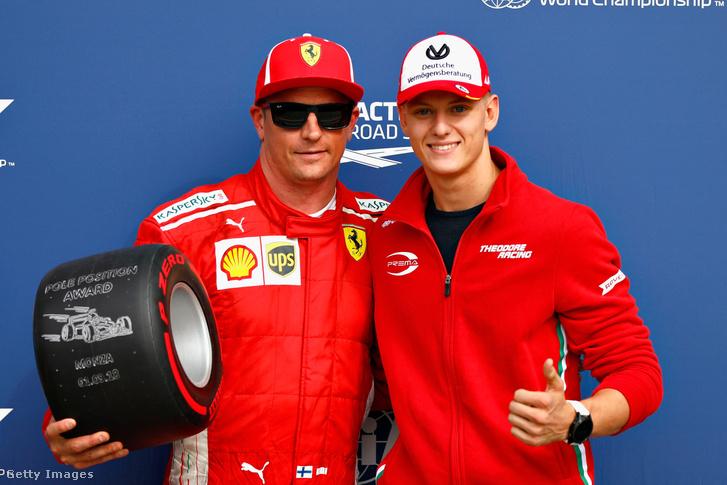 Kimi Raikönnen és Mick Schumacher (jobb oldal) Monzában 2018. szeptember 1-én