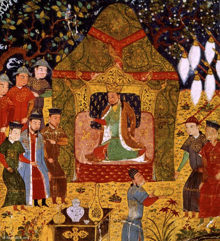 1206 tavaszán Dzsingisz kán a trónon. Készült: 1430-ban