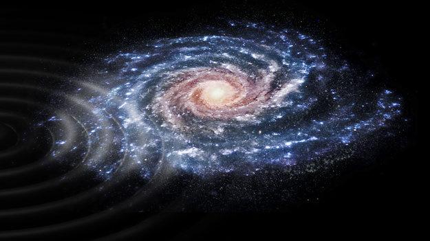 Művészi ábrázolás a csillagok sebességének perturbációjáról galaxisunkban, amikor egy másik, kisebb galaxis több százmillió évvel ezelőtt nekiütközött.