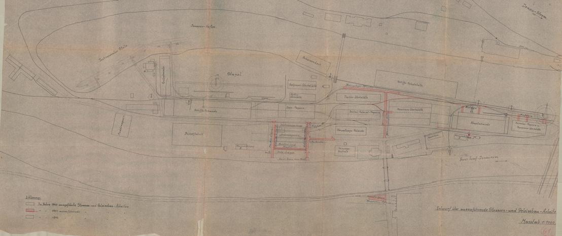 Az Óbudai Hajógyár vágányhálózata, vasúti híd nélkül a második világháború előtt. Leltári szám: MMKM TEM 57.1