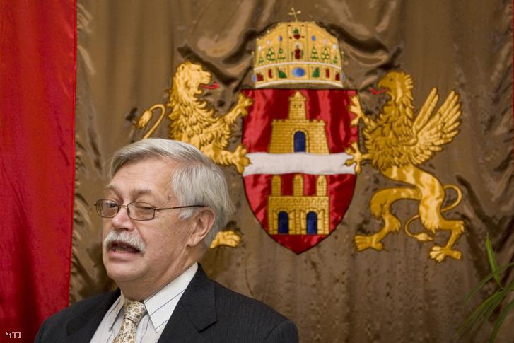 Szelényi Iván szociológus beszél a Főpolgármesteri Hivatal Gobelin Termében. Budapest, 2008. november 28.