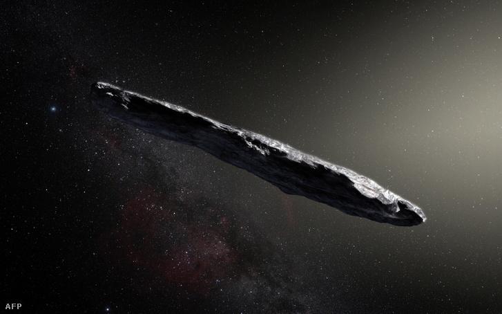Ezt a kiadványfotót az Európai Déli Obszervatórium publikálta, művészi impresszió az első csillagközi aszteroidáról, Oumuamua-ról. 2017. november 20.