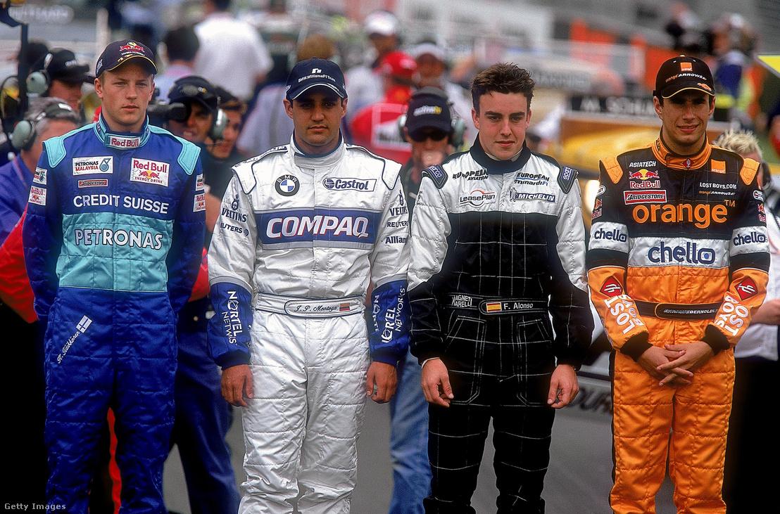 (Balról jobbra) Kimi Raikkönen (Sauber), Juan Pablo Montoya (Williams BMW), Fernando Alonso (Minardi) és Enrique Bernoldi (Arrows) az Ausztrál Nagydíj előtt 2001. március 3-án.