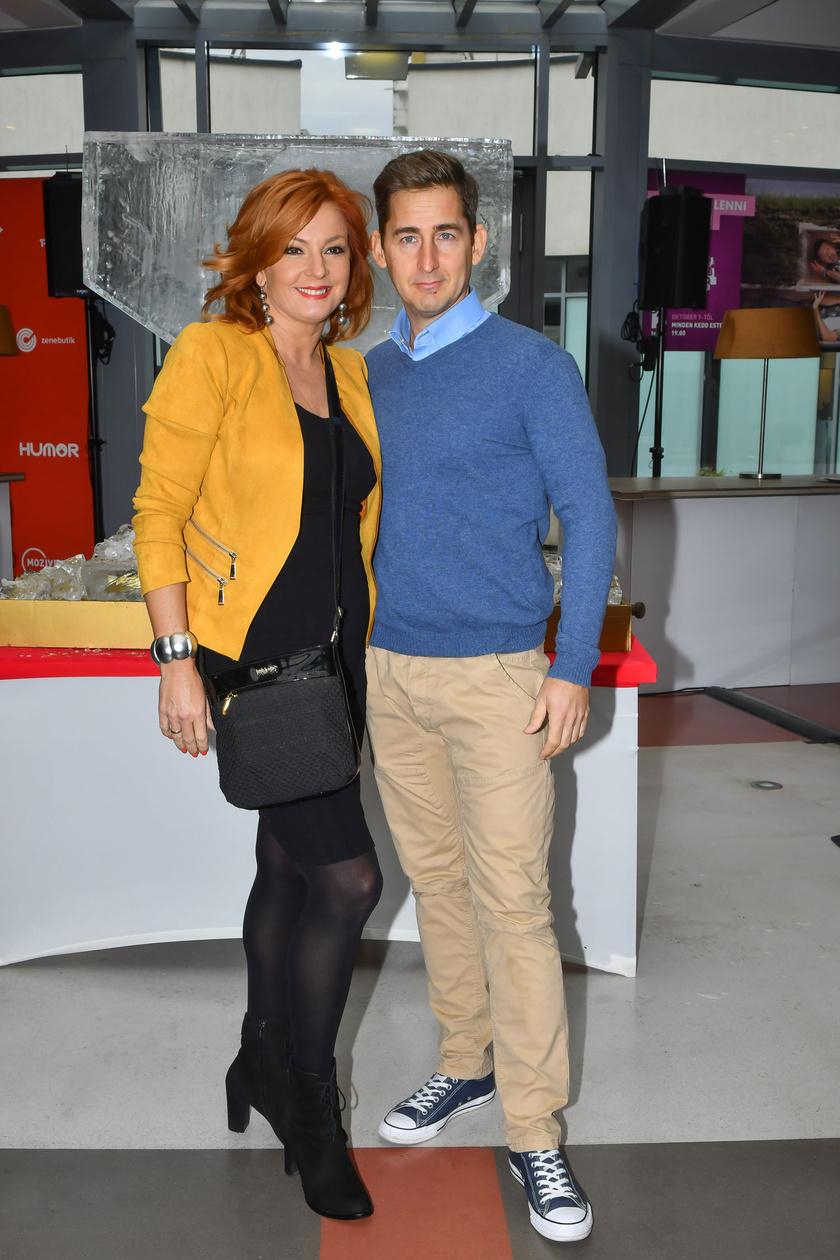 Keleti Andrea és férje szeptember 24-én, a TV2 őszi sajtótájékoztatóján. Ők is szerepelnek A legbátrabb páros című műsorban.