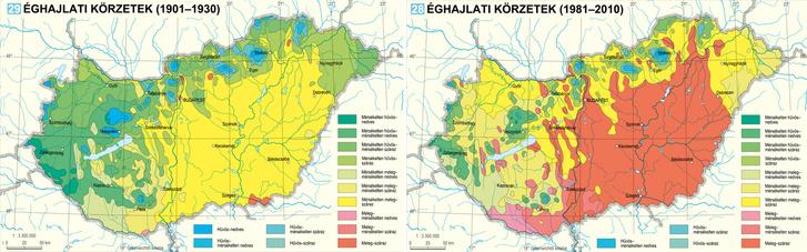 Az éghajlati körzetek változása 80 év alatt Magyarországon.