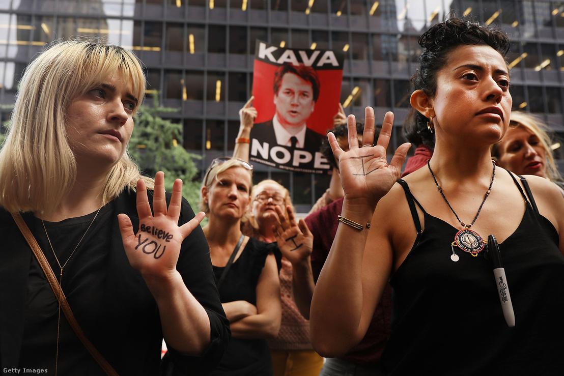 Kavanaugh kinevezése ellen tiltakozók 2018. szeptember 27-én New Yorkban