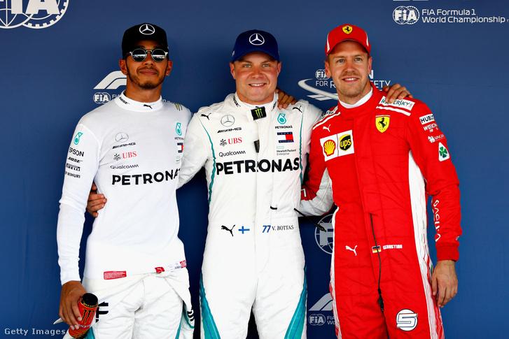 Orosz Nagydíj időmérő első három helyezettje Lewis Hamilton, Valtteri Bottas és Sebastian Vettel 2018. szeptember 29-én, Szocsi, Oroszország