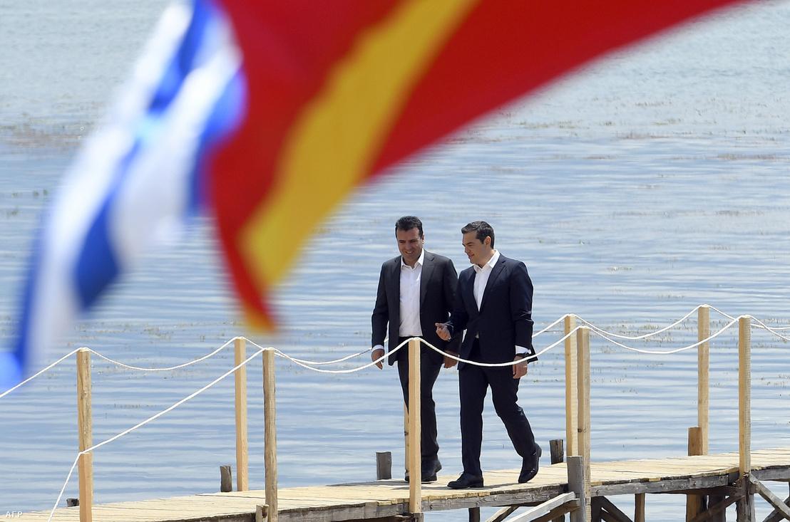 Zaev és Ciprasz 2018. június 17-én