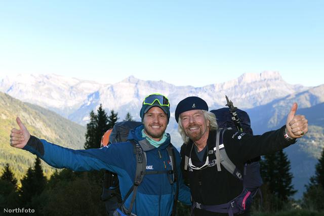 Richard Branson és fia, Sam, a Mont Blanc megmászása közben.