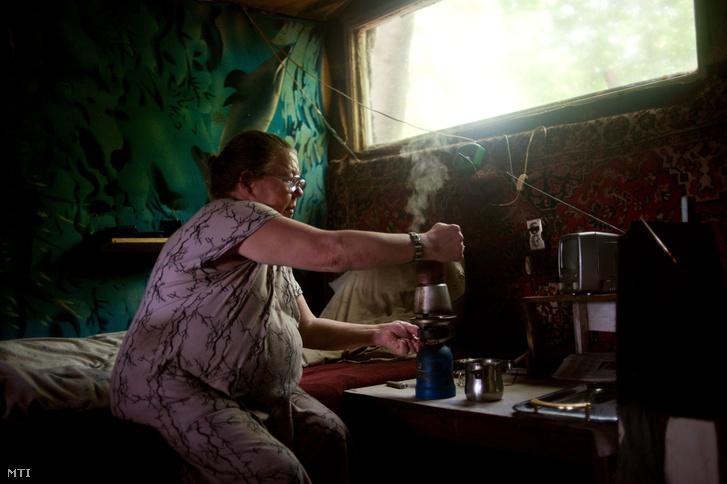 Vali kávét főz kunyhójában a Terebes utcai erdőben. 2012. június 21.