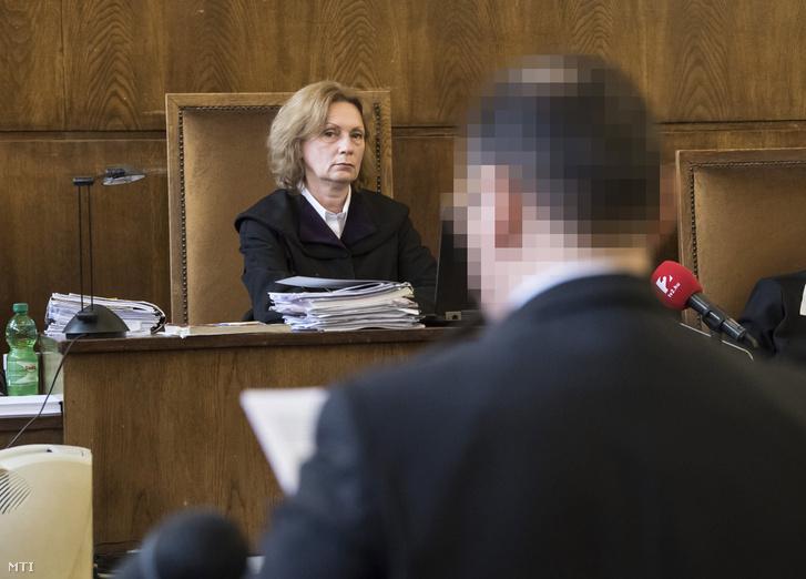 Kósa Zsuzsanna bíró hallgatja Vizoviczki Lászlót, aki az utolsó szó jogán felszólal az ellene és 33 társa ellen milliárdos nagyságrendű vagyoni hátrányt okozó költségvetési csalás vádjával indult büntetőper tárgyalásán a Fővárosi Törvényszéken 2017. április 24-én.
