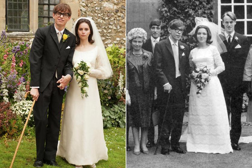 Esküvői fotójuk és filmbeli újraalkotása.