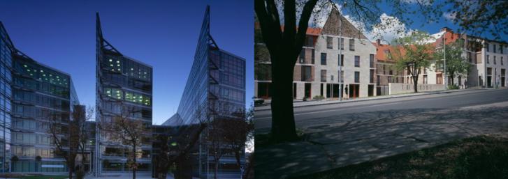 Két Cságoly Ferenc tervezte épület: az Alkotás Point irodaház (2002) és a Barbakán ház (2003)