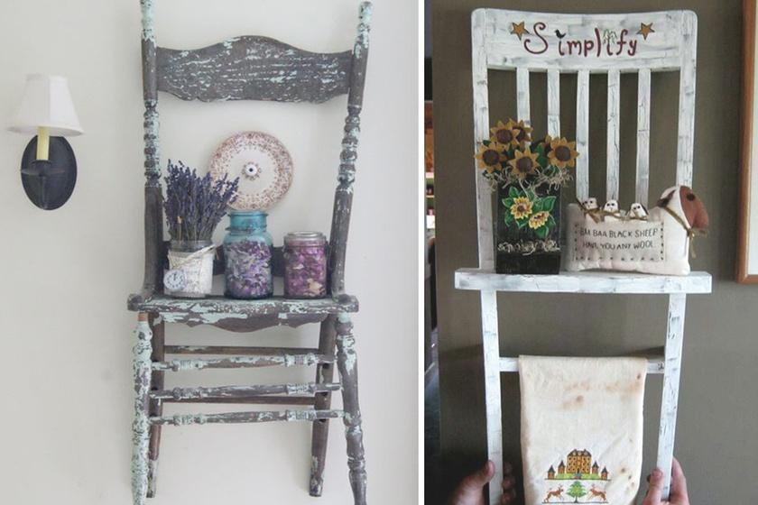 Egy régi szék még egyben felszerelve is jól mutat a falon. Smirglivel tovább lehet koptatni a színét, így jól passzol a country stílusú belső terekbe is. Csak egy kézi fúró kell hozzá, és stabilan fog állni.