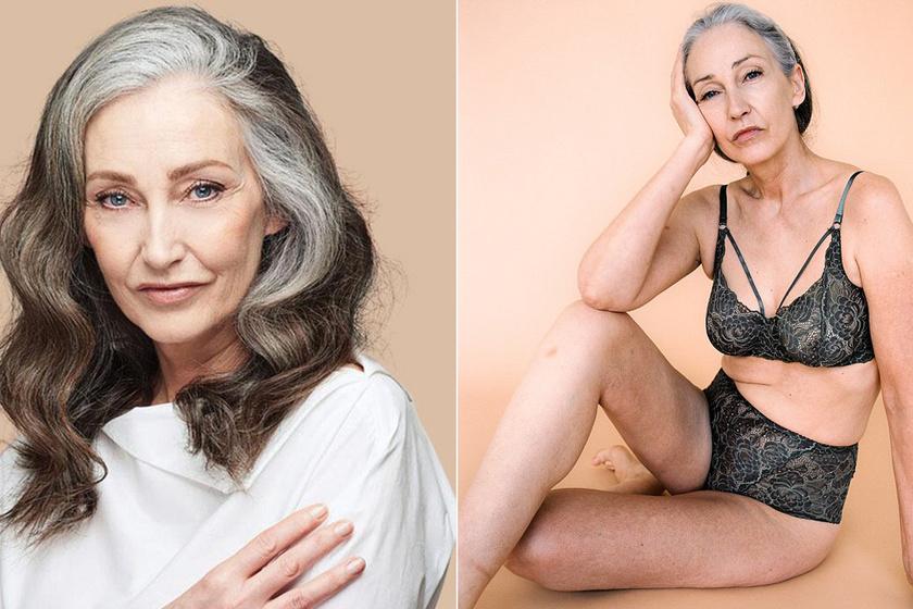 Az 58 éves modell retusálatlanul mutatta meg testét - Szexi, csipkés fehérneműben pózol