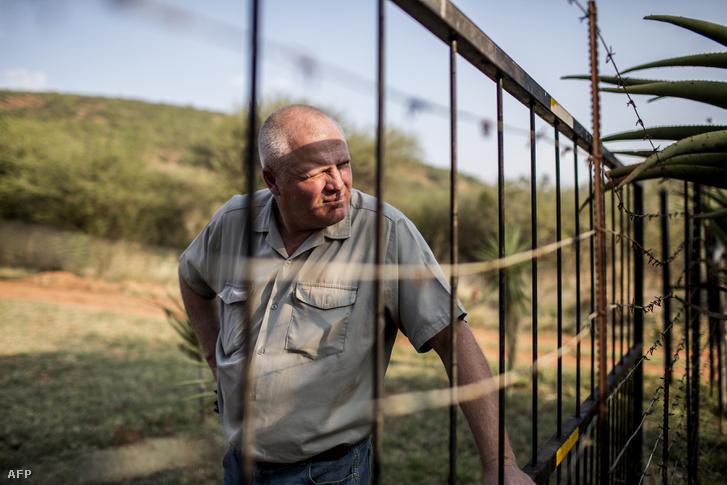 Piet Swanepoel áll farmja kerítésénél a dél-afrikai Limpopóban