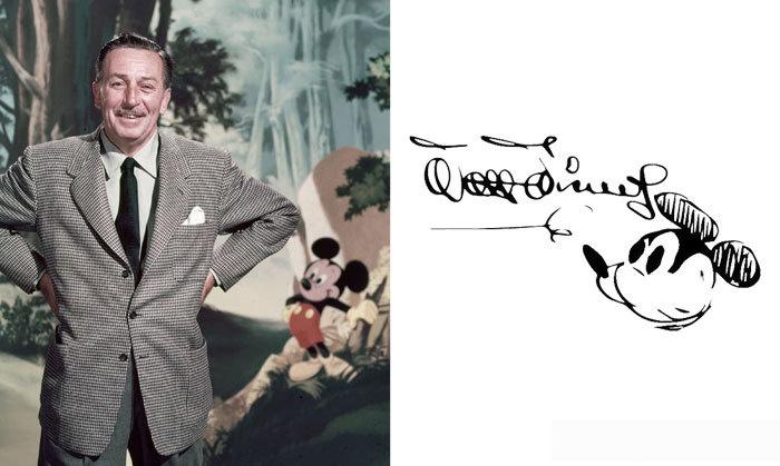 Mickey egér megalkotóját senkinek sem kell bemutatni: Walt Disney a valaha élt legnagyobb rajzfilmkészítő. Aláírásában is visszaköszön kedvenc karaktere, de a betűk formálása is nagyon kreatív és játékos személyiségre vall.