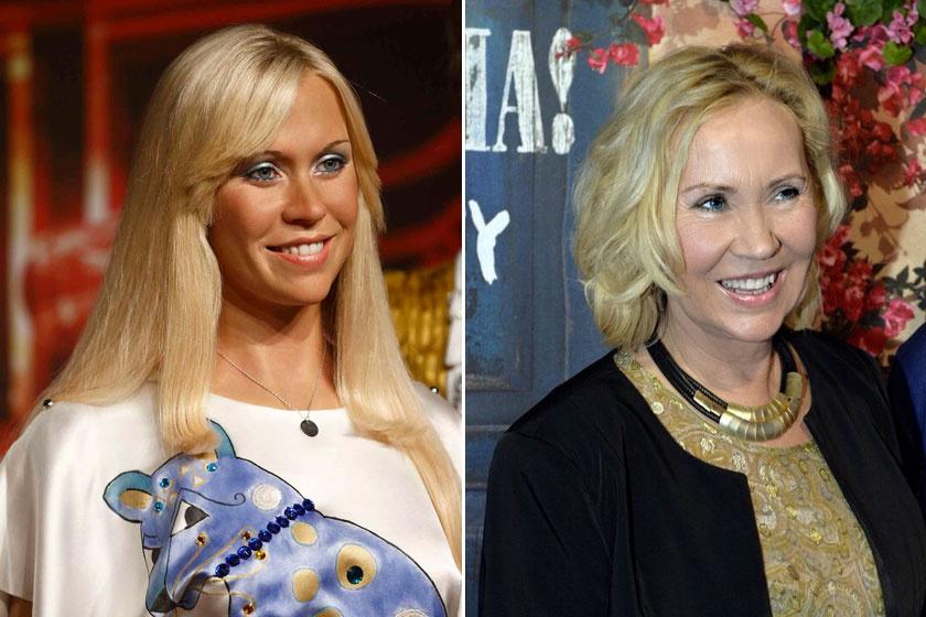 Az idén 68 éves Agnetha Faltskog az ABBA után szólókarrierbe kezdett, legutóbbi nagylemeze 2013 májusában jelent meg. A jobb oldali fotón a Mamma Mia című daluk által ihletett stockholmi étterem megnyitóján látható.