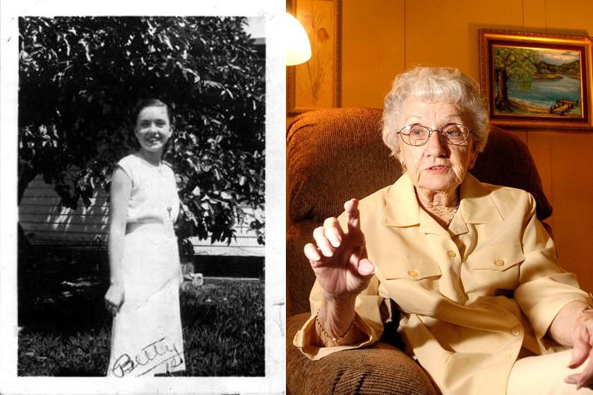 Betty kislánykorában és idős hölgyként.