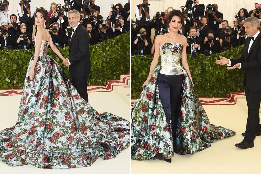 Amal Clooney a 2018-as MET-gálára egy gyönyörű, hosszú uszályos, rafinált megoldású, Richard Quinn által tervezett estélyi ruhában érkezett. Olyan szép volt, mint egy hercegnő, ebben a virágokkal borított dizájnerdarabban.
