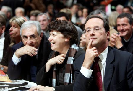 Dominique Strauss-Kahn, Martine Aubry és Francois Hollande eg y 2005-ös szocilaista kongresszuson