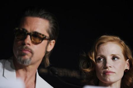 Brad Pitt és Jessica Chastain Cannes-ban