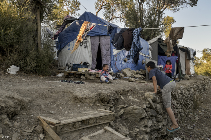 A Moria menekülttábor 2018. szeptember 18-én a görögországi Leszbosz szigetén