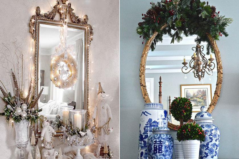Az aranykeretes tükörnek jól áll a fehér és a zöld is.