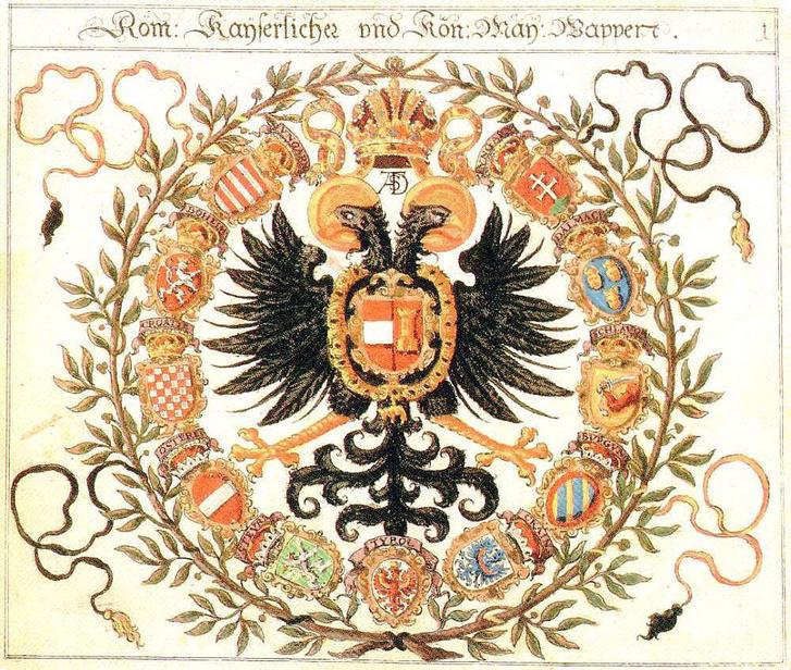 A Habsburg császár címere, számos területével.