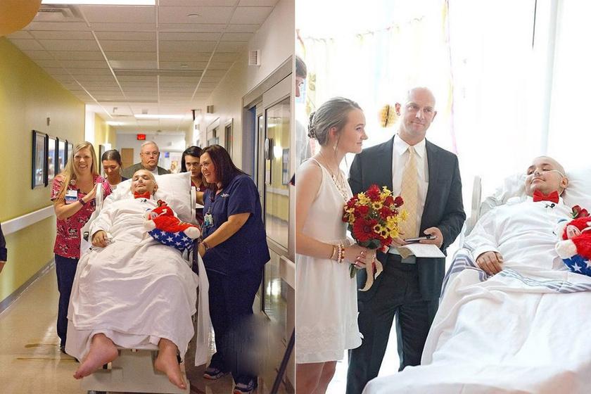 A kórházban vette feleségül szerelmét a csontrákos fiú: szívszorító esküvői fotók készültek