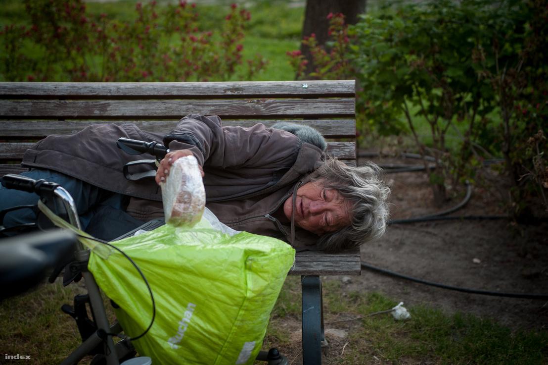 Hajléktalan nő egy a Budapest Bike Maffia önkéntesétől kapott szendviccsel