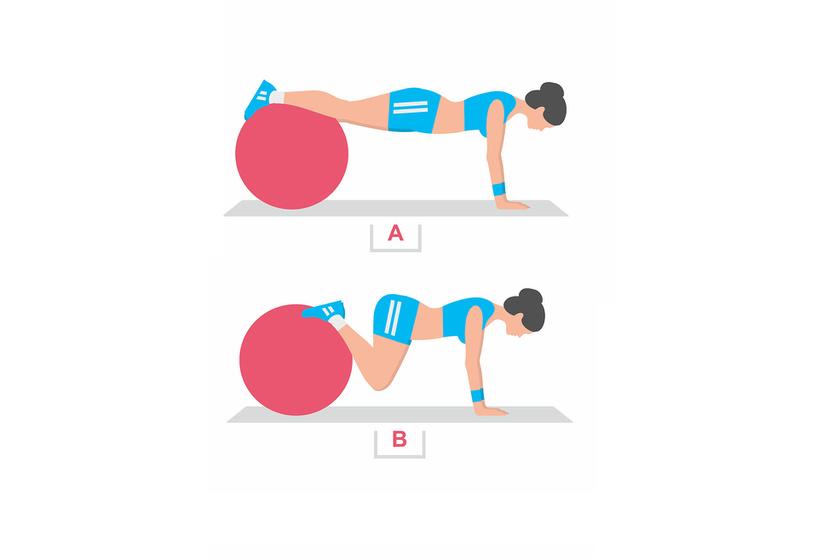 Tedd fel a lábadat a labdára, majd a térdedet húzd a mellkasod felé. Ez a gyakorlat dolgoztatja a has és a csípő izmait. Ismételd 20-szor.
