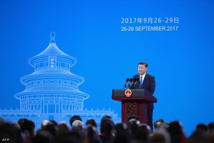 Hszi Csin-ping beszél a 2017-es Pekingben tartott Interpol közgyűlésen
