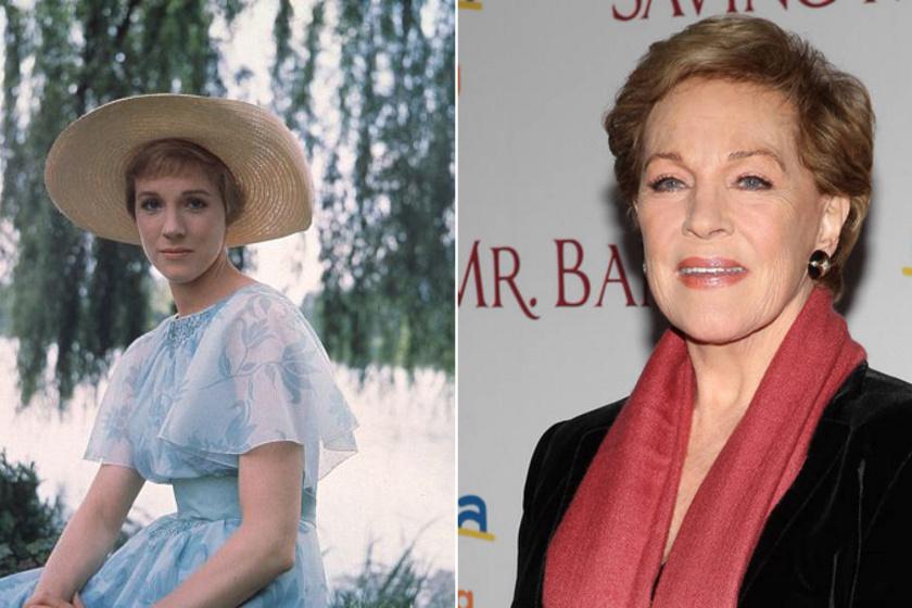 Julie Andrews A muzsika hangja forgatásának idején, illetve napjainkban, a Mary Poppins új feldolgozásának premierjén.