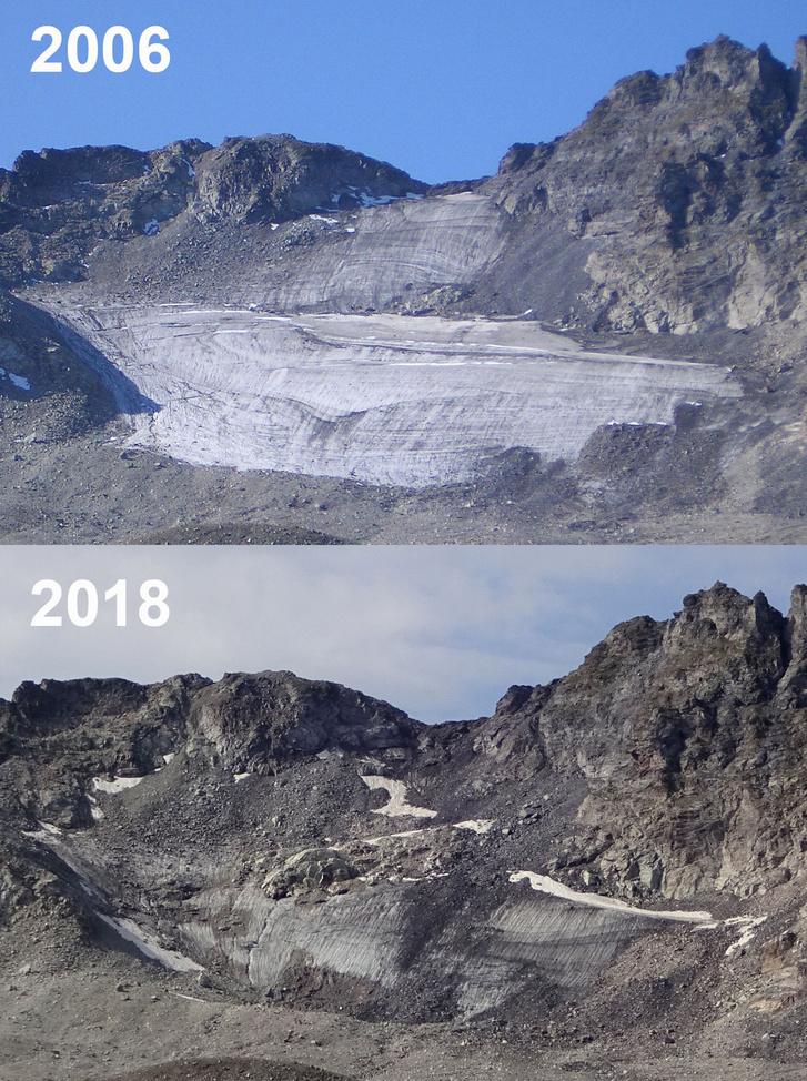 Így tűnt el a pizoli gleccser 12 év alatt