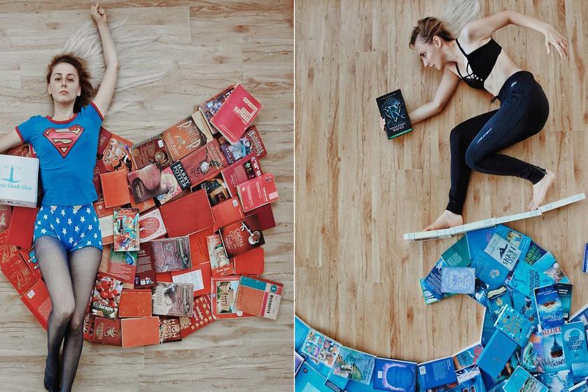 Egyedi nézőpontból fotózták a modellt: szédületes beállítások pár könyvvel