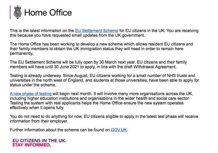 A brit belügyminisztérium egyik tájékoztató levele az EU-s állampolgároknak.