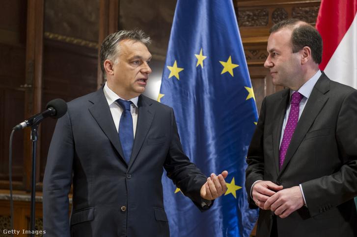 Orbán Viktor és Manfred Weber találkozójuk után a Magyar Parlamentben 2015. június 4-én