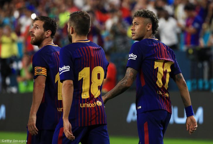 Messi, Jordi Alba és Neymar utolsó közös meccsükön, tavaly nyáron