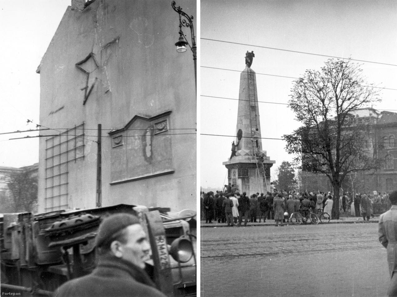 Balra a Kálvin tér tűzfala a félig már levert vöröscsillaggal, előtte felborított rendőrségi teherautó; jobbra a Gellért tér szovjet katonai emlékművéről szedik le éppen a csillagot és a szovjet címert.