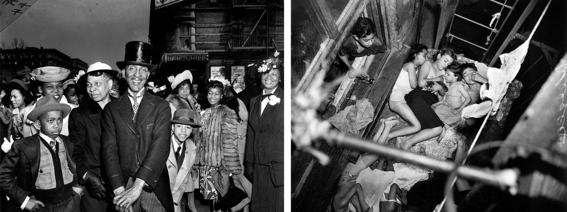 Bal: Húsvétvasárnap Harlemben, 1940 körül - Jobb: Gyerekek a tűzlépcsőn, 1941. május 23.