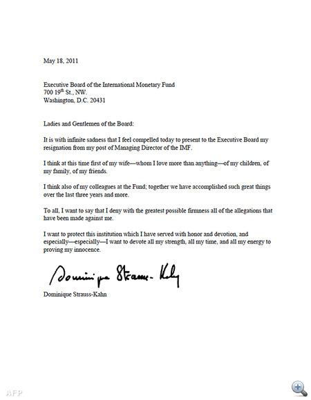 Dominique Strauss-Kahn angol nyelvű lemondó levele