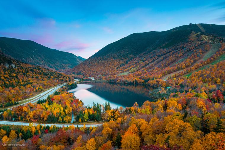 New Hampshire White Mountain túraösvényét vízesések, hidak és harminckét kilátó keresztezi