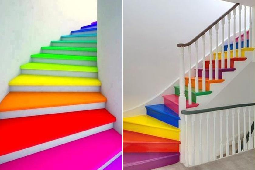 Egy kis festékkel könnyen szín vihető a legegyszerűbb lakásba is. A tél nyomasztó hónapjaiban egy ilyen szivárványos lépcső azonnal vidám hangulatot teremt.