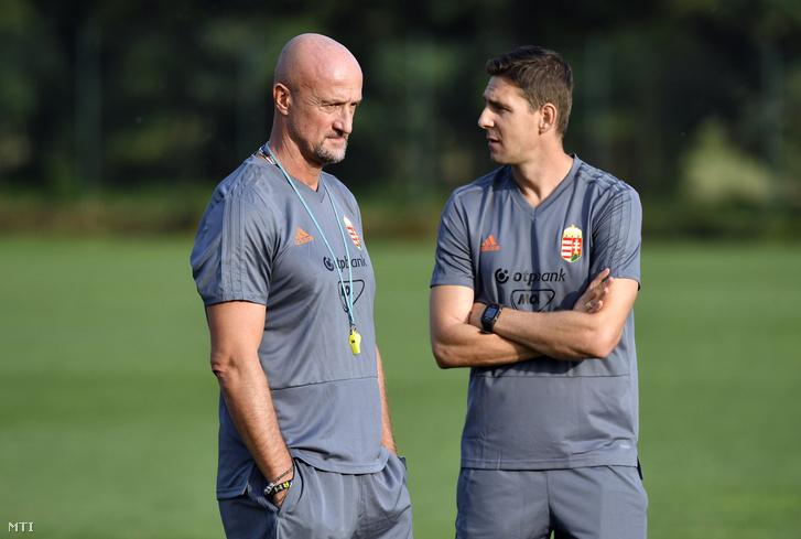 Marco Rossi szövetségi kapitány és Gera Zoltán edző (j)