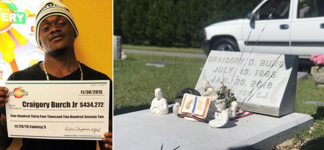 Craigory Burch Jr. a lottónyereményével. Pár hónappal később a fiatalembert rablók ölték meg az otthonában.