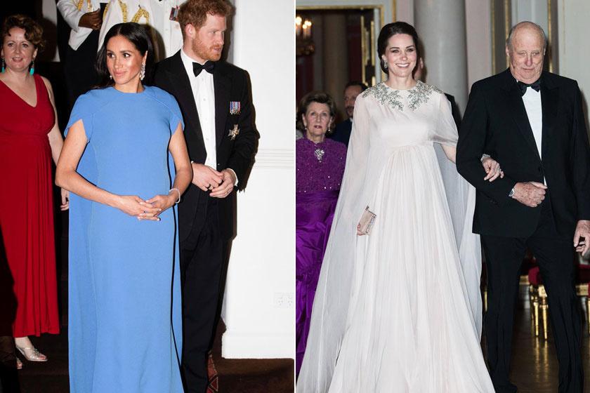 Meghan hercegné az ausztrál körútja alatt viselte ezt a palásttal ellátott estélyijét, a ruhájának stílusa megegyezett azzal, amit Katalin viselt 2018 februárjában.