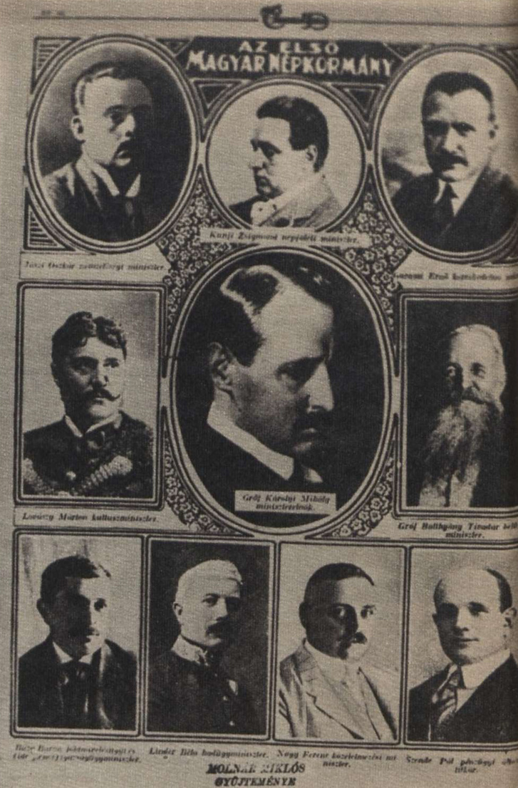 A Károlyi-kormány az Érdekes Újság 1918. november 7-i számában