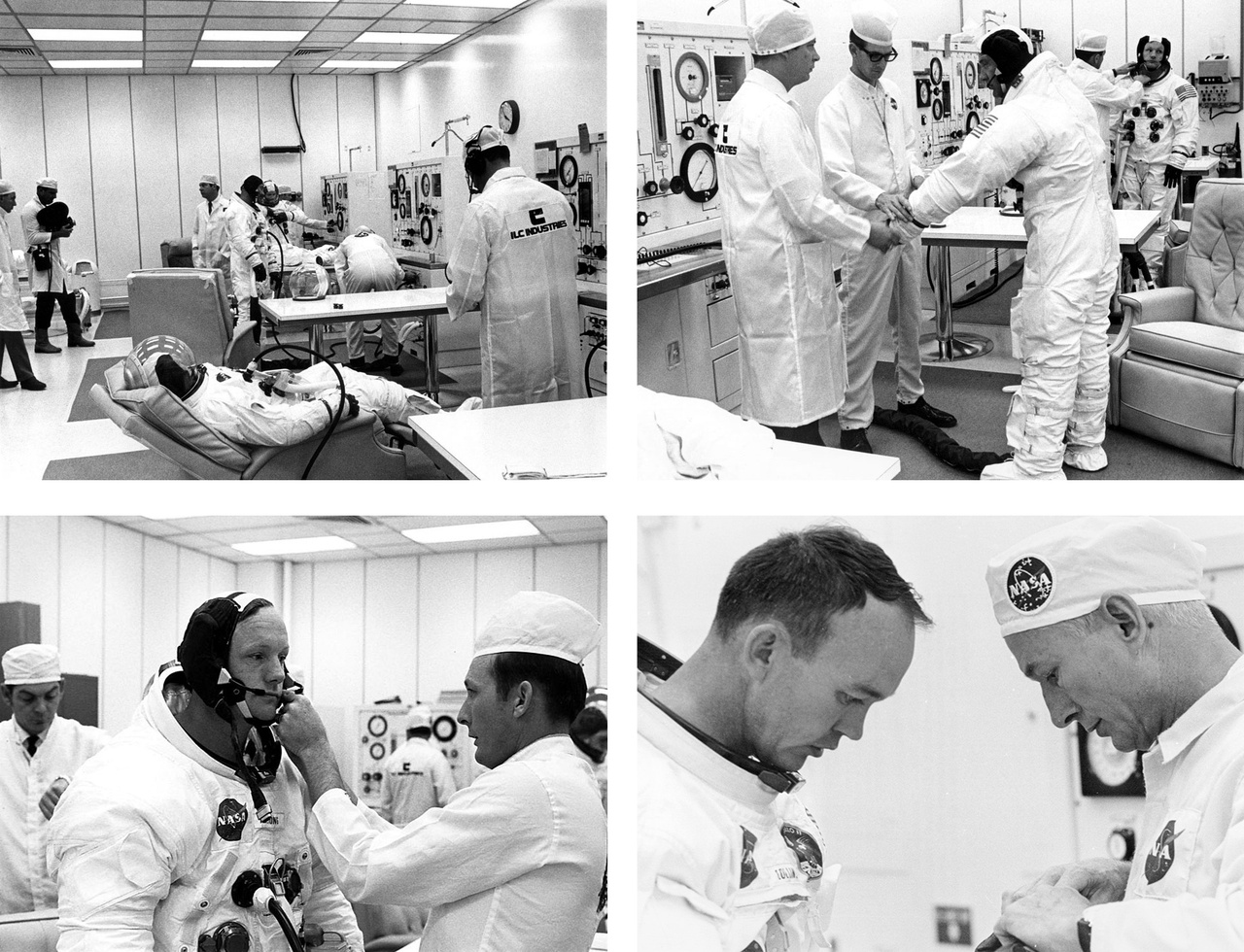 Négy archív fotó az Apollo-11 tagjainak szkafanderpróbáiról.