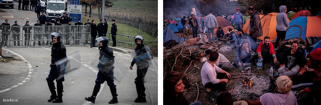 Rendőrök és menekültek a határnál